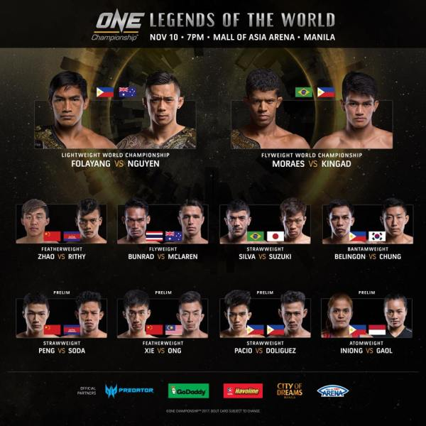 'ONE Legends of the World' fight card
