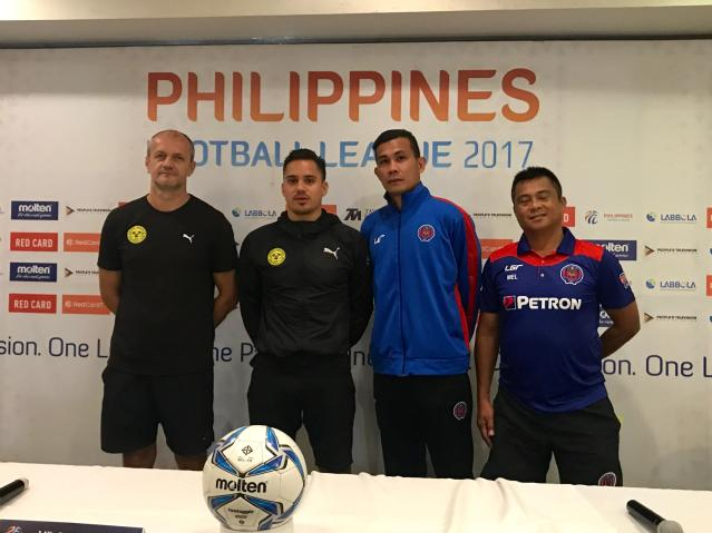 (L-R) Ceres Negros FC Head Coach Risto Vidakovic, Martin Steuble, Davao Aguilas FC player Jason Cordova and Coach Melchor Anzures, face the local media here in Bacolod City at the pre-match press conference held at L'Fisher Hotel.