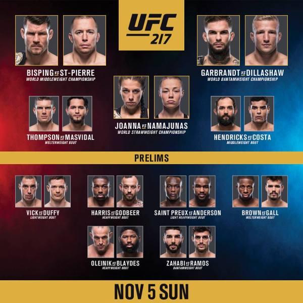 UFC 217 fight card (Facebook/UFC)