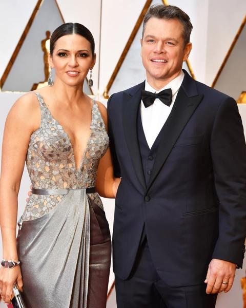 Matt Damon, Luciana Barroso (Facebook/InStyle)