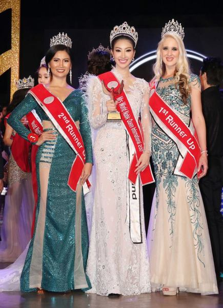 Pe Ti Wei, Trakarnta Noppawong, Chanelle Fulton (Facebook/Miss & Mrs World Noble Queen International)
