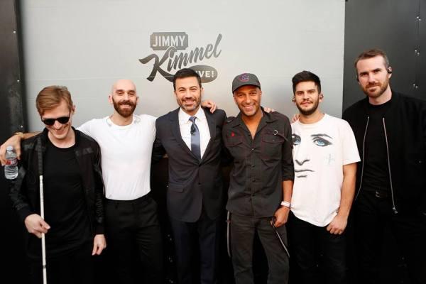 Jimmy Kimmel with X Ambassadors (Facebook/X Ambassadors)
