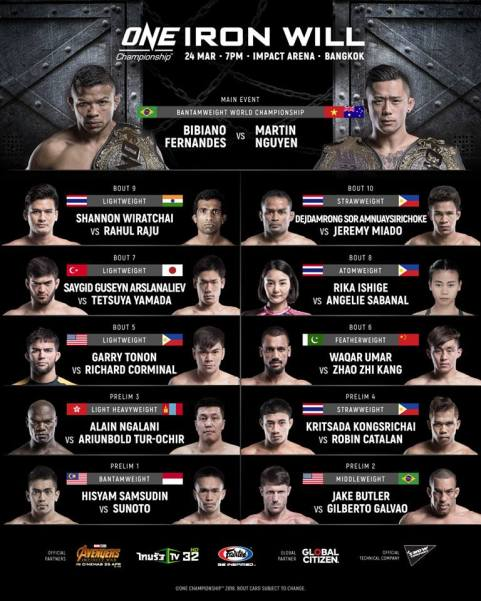 'ONE: Iron Will' fight card (Facebook/ONE Championship)
