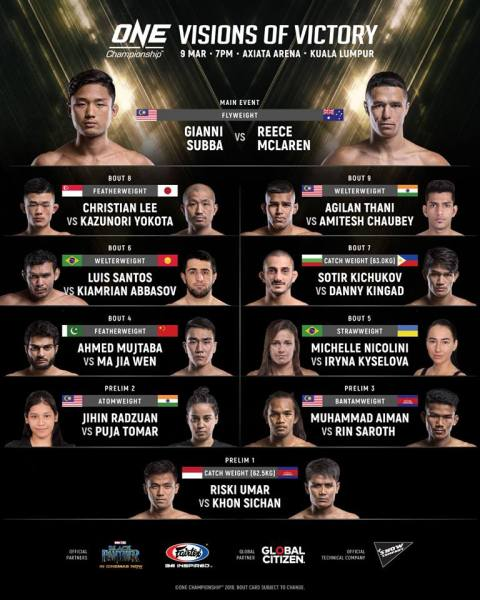 'ONE: Visions of Victory' fight card (Facebook/ONE Championship)