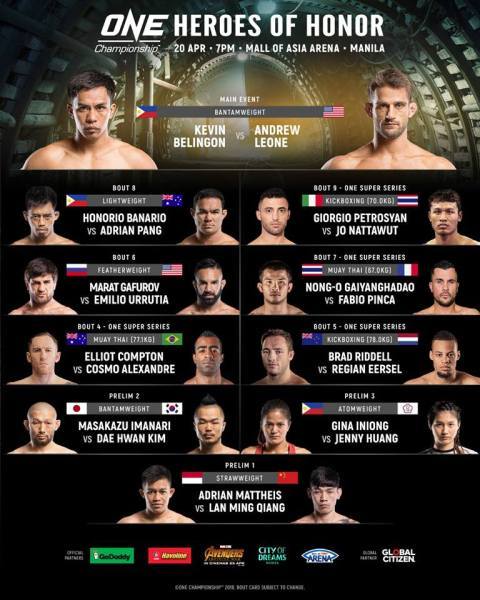 'ONE: Heroes of Honor' fight card (Facebook/ONE Championship)