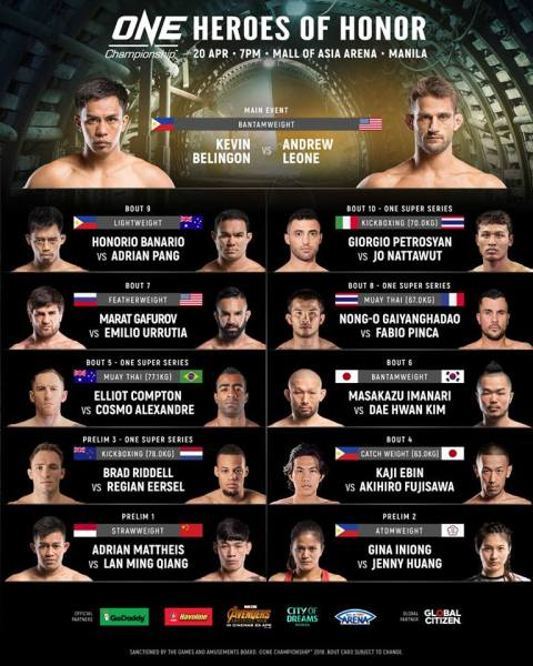 'ONE: Heroes of Honor' fight card