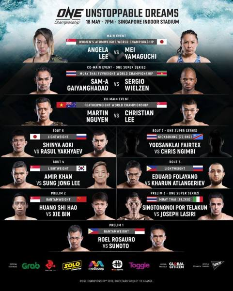 'ONE: Unstoppable Dreams' fight card