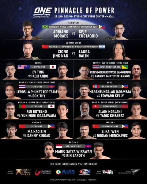 'ONE: Pinnacle of Power' fight card