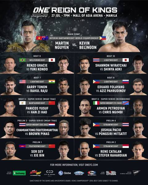 'ONE: Reign of Kings' fight card