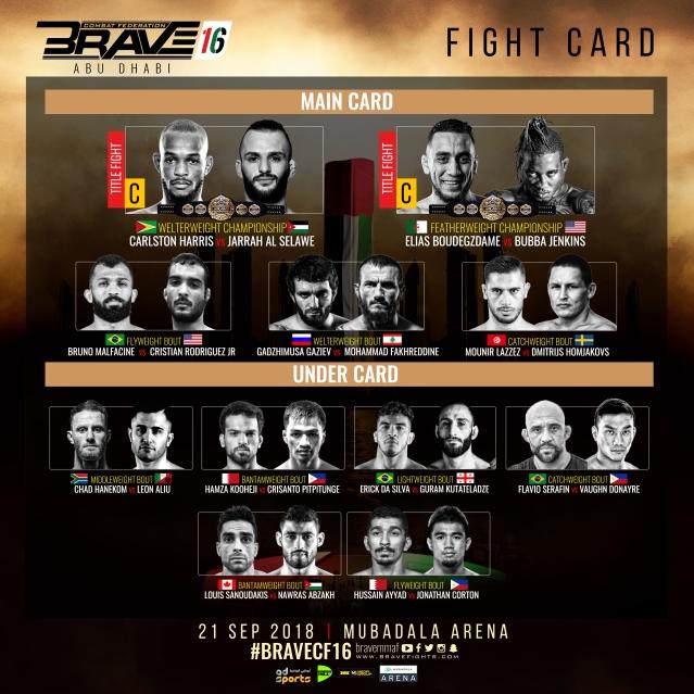 'Brave 16: Abu Dhabi' results: Carlston Harris vs Jarrah Al-Selawe, Elias Boudegzdame vs Bubba Jenkins