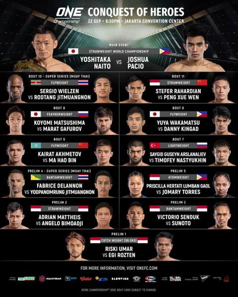 'ONE: Conquest of Heroes' fight card