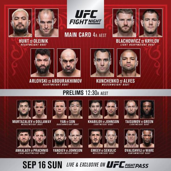 'UFC Fight Night 136' fight card
