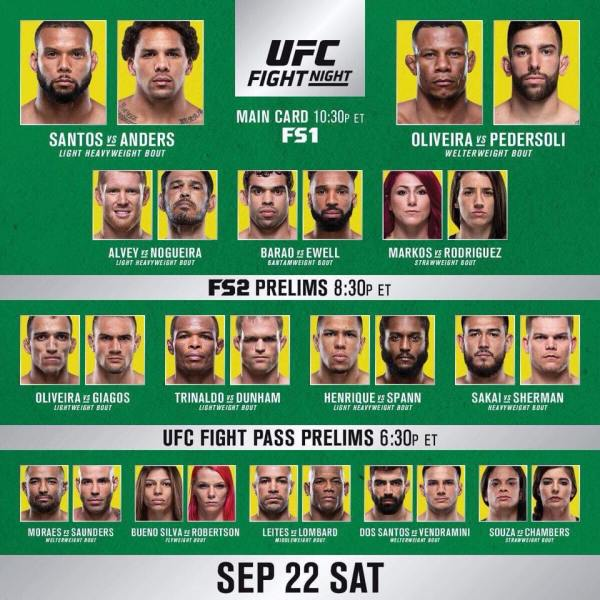'UFC Fight Night 137' fight card
