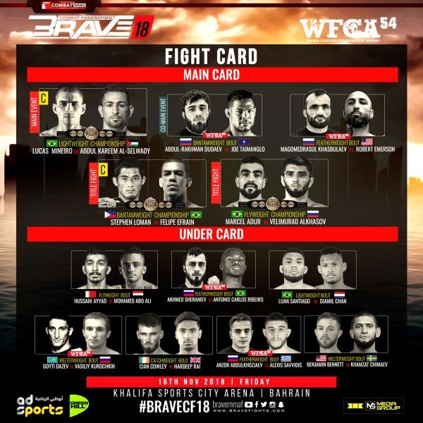 'Brave 18' fight card