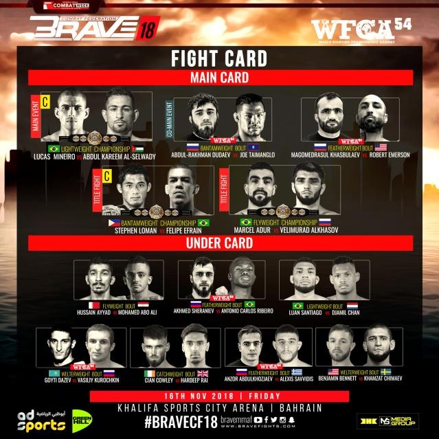 'Brave 18: Bahrain,' 'WCFA 54' results: Lucas Martins vs Abdul-Kareem Al-Selwady