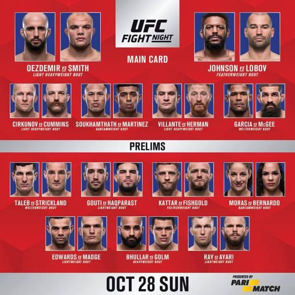 'UFC Fight Night 138' fight card