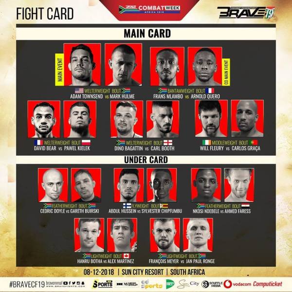 'Brave 19: South Africa' fight card