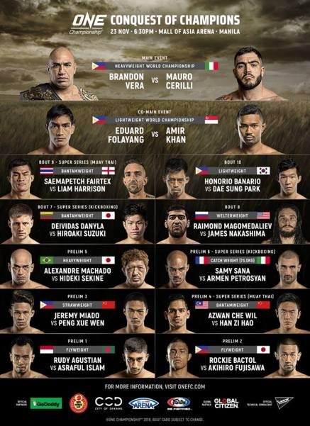 'ONE: Conquest of Champions' fight card
