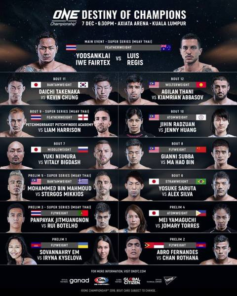 'ONE: Destiny of Champions' fight card