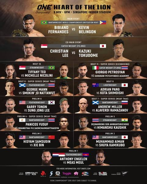 'ONE: Heart of the Lion' fight card