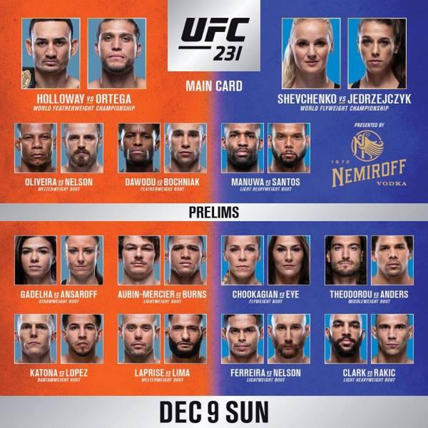 'UFC 231' fight card
