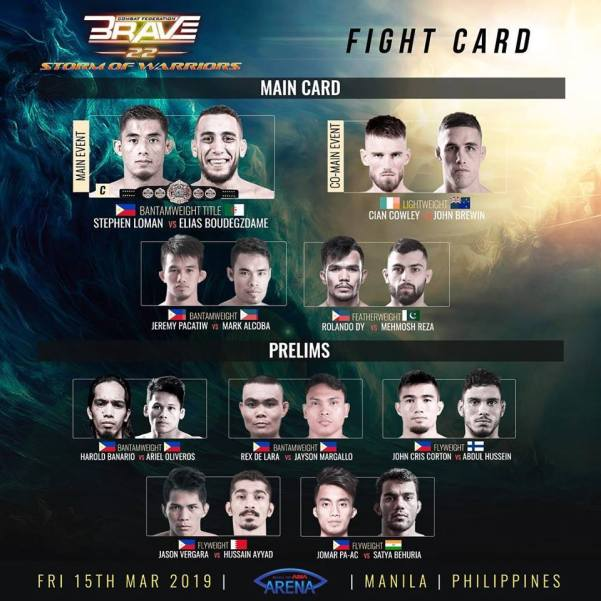 'Brave 22: Storm of Warriors' fight card
