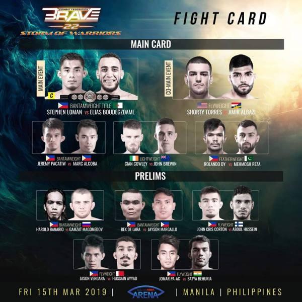 'Brave 22' fight card