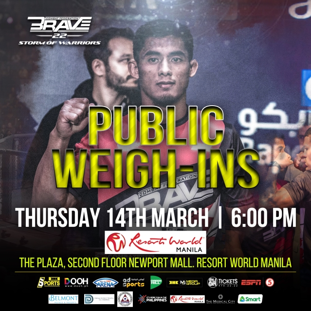 'Brave 22: Storm of Warriors' pubic weigh-ins