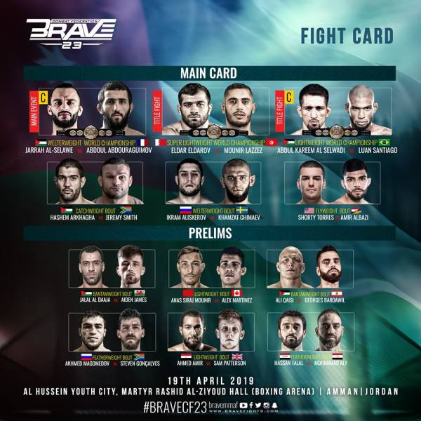 'Brave 23: Storm of Warriors' fight card
