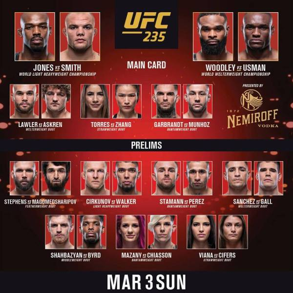 'UFC 235' fight card