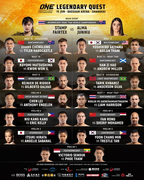 'ONE: Legendary Quest' fight card