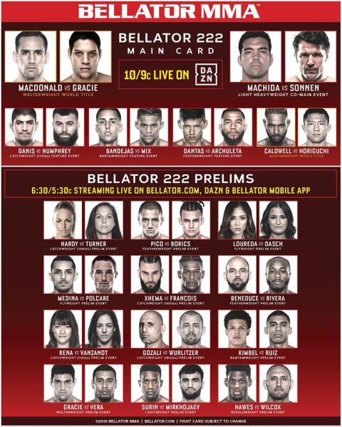 'Bellator 222' fight card