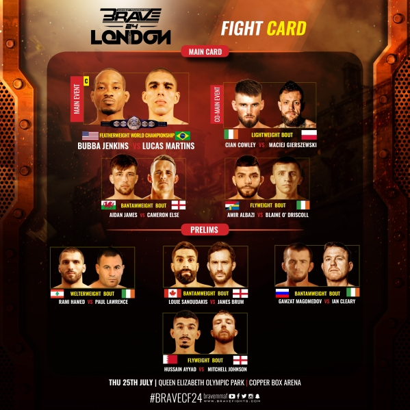 'Brave 24: London' fight card