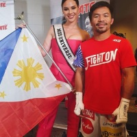 Miss Universe 2018 Catriona Gray supports Manny Pacquiao at MGM Arena in Las Vegas, Nevada