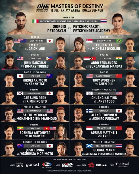 'ONE: Masters of Destiny' fight card