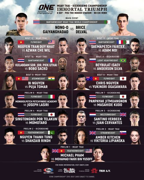 'ONE: Immortal Triumph' fight card