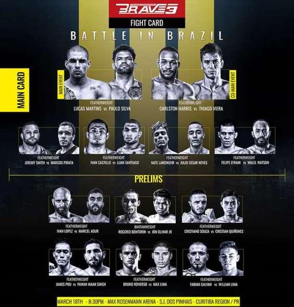 'Brave 3: Battle in Brazil' fight card