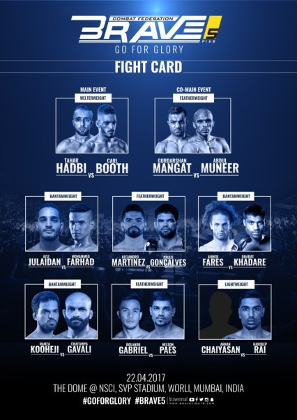 'Brave 5: Go For Glory' fight card