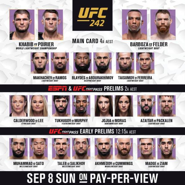 'UFC 242' fight card