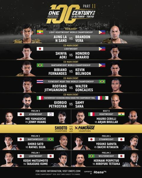 'ONE: Century 世紀' part 2 fight card