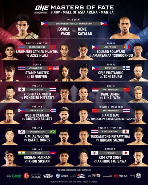 'ONE: Masters of Fate' fight card