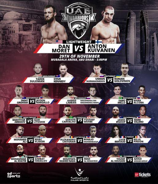 'UAE Warriors 9' fight card