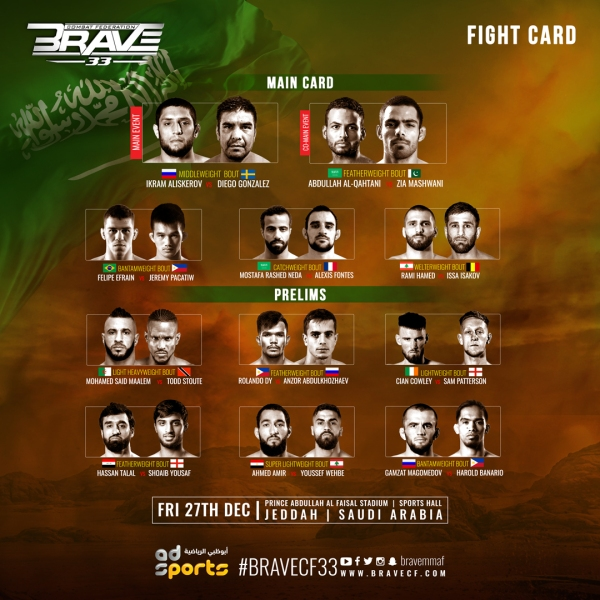 'BRAVE CF 33' fight card