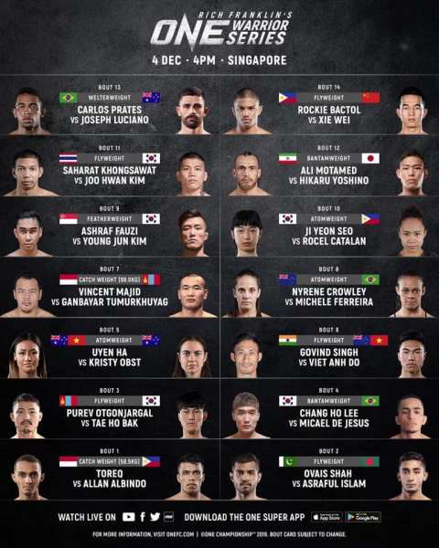 'ONE Warrior Series 9' fight card