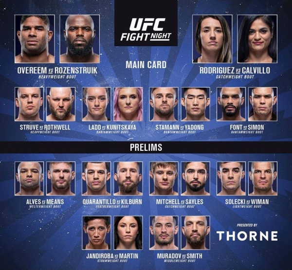 'UFC on ESPN 7' fight card