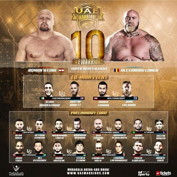 'UAE Warriors 10' fight card