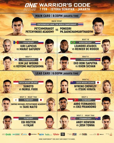 'ONE: Warrior's Code' fight card