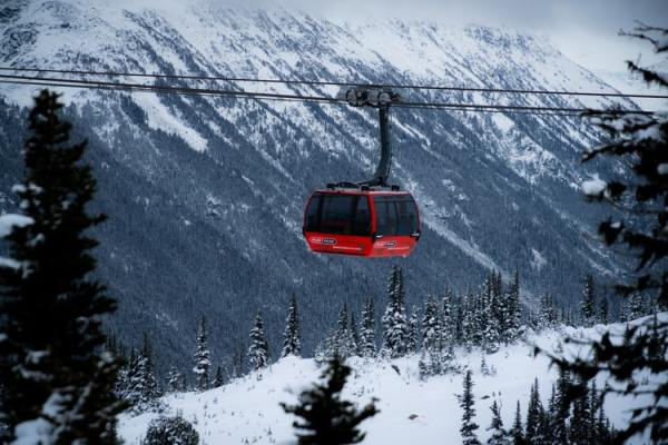 red cable car in Whistler, British Columbia, Canada (©Yin Yin Low)