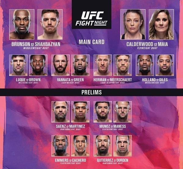 'UFC Vegas 5' fight card