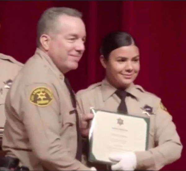 Alex Villanueva, Claudia Apolinar (©Los Angeles County Sheriff's Department)